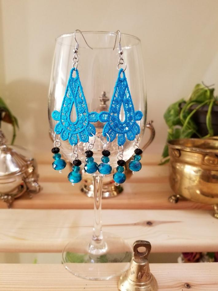 Embroidery Glass Beads Earrings