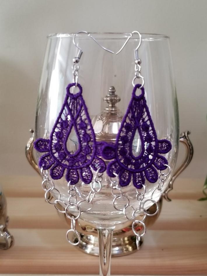 Purple Embroidery Chain Earrings