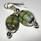Organic Scalloped Lampwork Sterling Silver Earrings