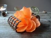 Orange decor Wedding table decoration Orange wedding decor Crepe paper flower Abstract flower Flower ornament Unique Decor