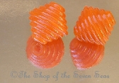 Set of 2 Earring Pairs sra Lampwork Beads Coral Tangerine Orange Textured Lanterns Nancy Larkin Handmade