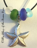 Starfish and Seaglass Lampwork Beads Euro Charm Necklace Jewelry Bracelet Blue White Green sra Nancy Larkin