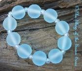 Set of 10 sra Lampwork Beads ETCHED Aqua Sea blue Nancy Larkin Handmade Glass