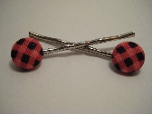 Pink Plaid HairPins
