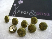 Green and Gold Fabric Covered Pushpins