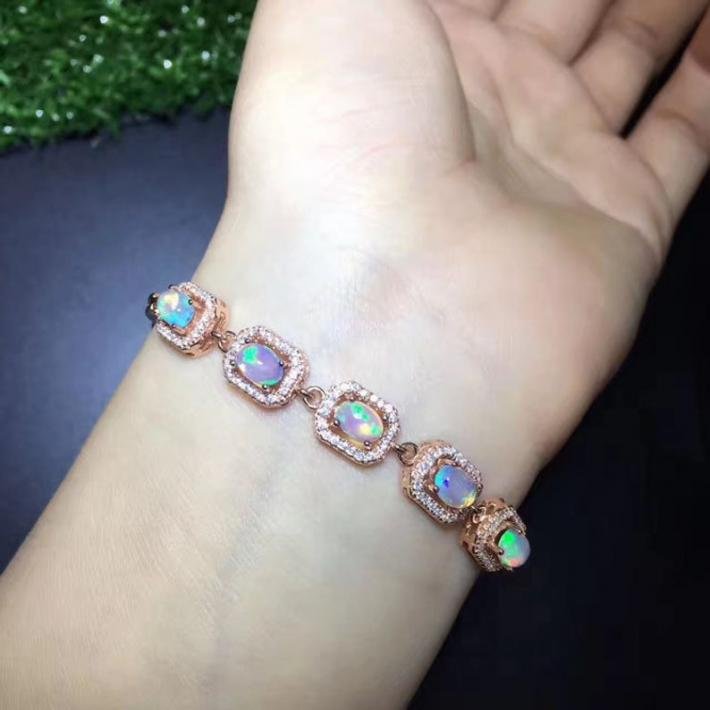 All Natural Opal Bracelet October Birthstone Solid Rainbow Fire Opal Sterling Silver Bracelet for Women Engagement Wedding Jewelry