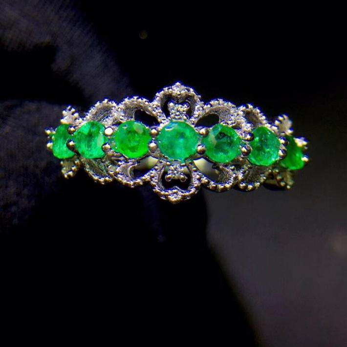 Genuine Natural Green Emerald Ring White Gold Plated Silver Ring For Women May Birthstone Engagement Cocktail Wedding Ring Art Deco