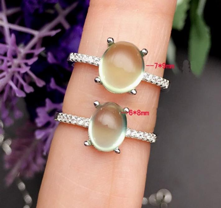 Natural Australia Green Prehnite Ring Rose Gold plated Sterling Silver Rings For WomenEngagement Statement Wedding Ring Art Deco