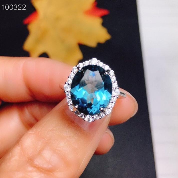 London Blue Topaz Ring November BirthstoneSterling Silver Rings for Women Engagement Cocktail Wedding Ring