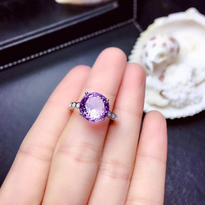 Natural Purple Amethyst Ring Bird Net Cut February BirthstoneSterling Silver Rings For Women