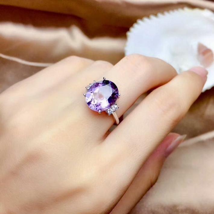 Hu Birthstone Sterling Silver Rings For Women Engagement Statement Wedding Ringge Natural Purple Amethyst Ring February