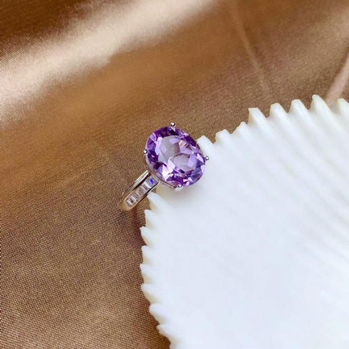 Huge Natural Purple Amethyst Ring  February Birthstone Sterling Silver Rings For Women  Engagement Statement Wedding Ring