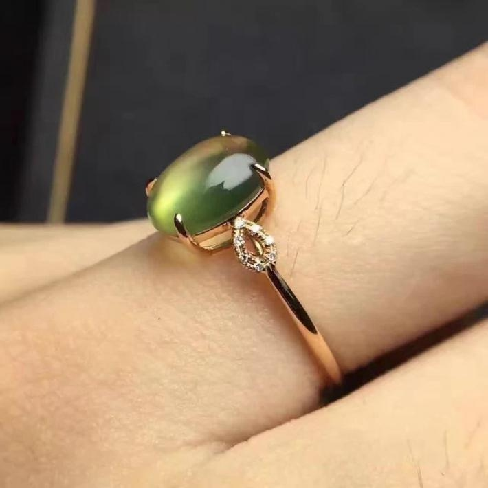 Natural Australia Green Prehnite Ring Rose Gold plated Sterling Silver Rings For WomenEngagement Statement Wedding Ring