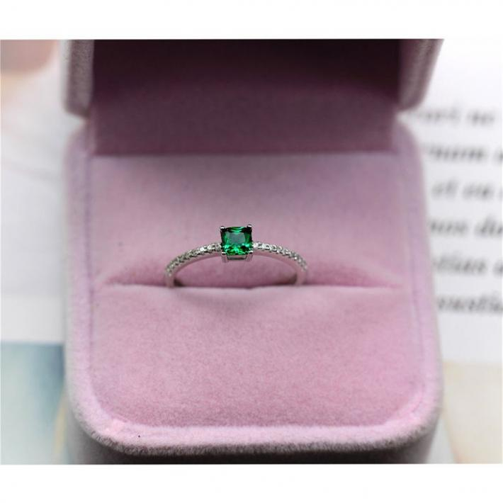 Green Emerald  Ring  Created Emerald  Gold Plated Silver Ring  May Birthstone Engagement Cocktail Wedding Ring