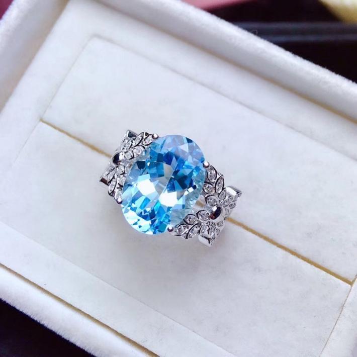 Blue Topaz Ring  November Birthstone  Sterling Silver Rings for Women  Engagement Cocktail Wedding Ring