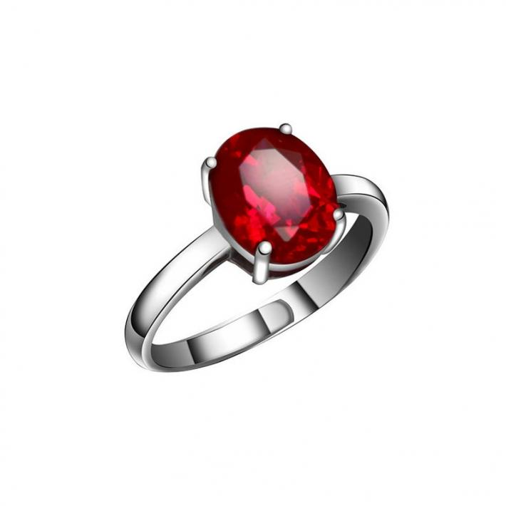 Minimalist Blood Red Ruby Ring  Created Ruby  July Birthstone  Sterling Silver Rings for Women Engagement Cocktail Wedding Ring