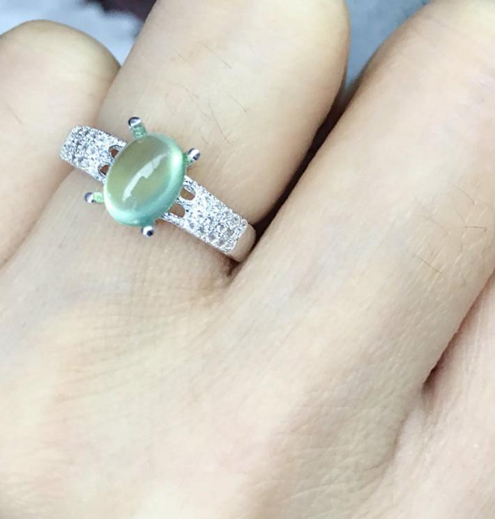 Natural Australia Green Prehnite Ring  Gold plated Sterling Silver Rings For Women Engagement Statement Wedding Ring