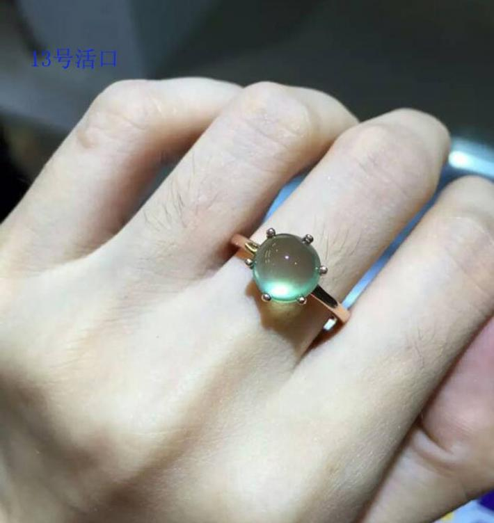 atural Australia Green Prehnite Ring Gold plated Sterling Silver Rings For Women  Engagement Statement Wedding Ring