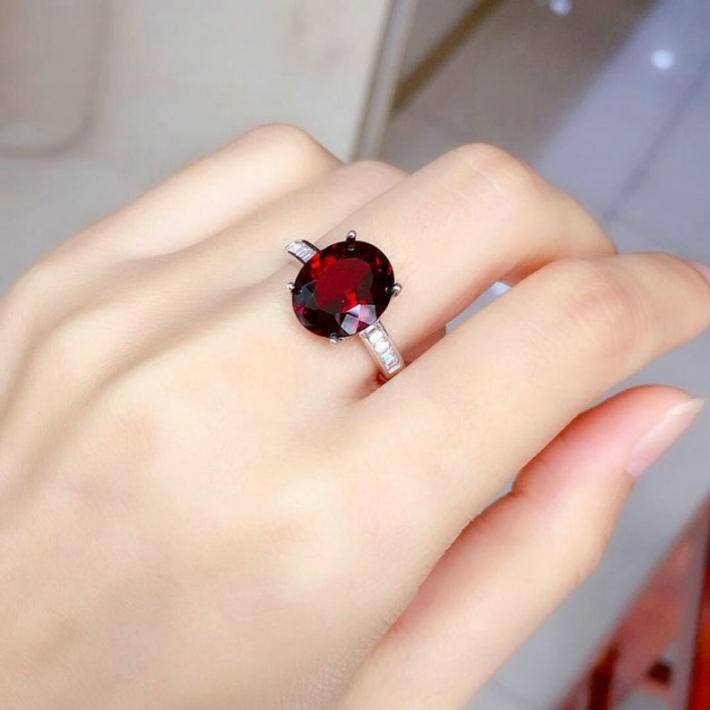 Natural AAA Red Garnet Ring  January Birthstone  Silver Ring For Women  Engagement Cocktail Wedding Ring
