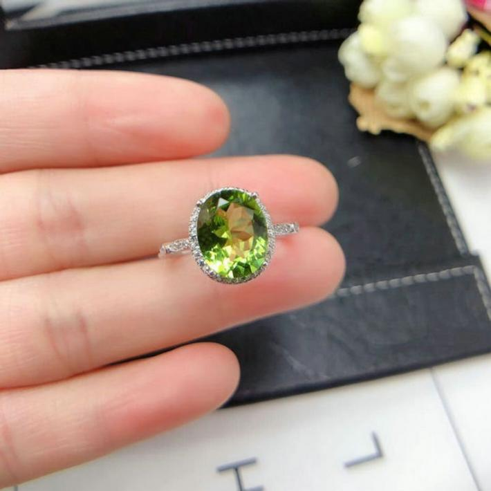 Natural Green Peridot Ring  August Birthstone  White Gold Plated Sterling Silver Rings  Engagement Statement Wedding Ring