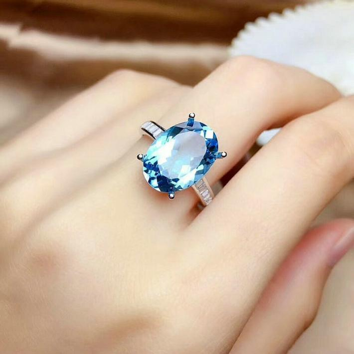 Blue Topaz Ring  November Birthstone  Sterling Silver Rings for Women Engagement Cocktail Wedding Ring