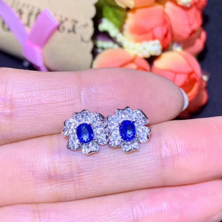 Natural Blue Sapphire Earrings September Birthstone  Sterling Silver Earrings For Women Engagement Wedding Jewelry Art Deco Aesthetic