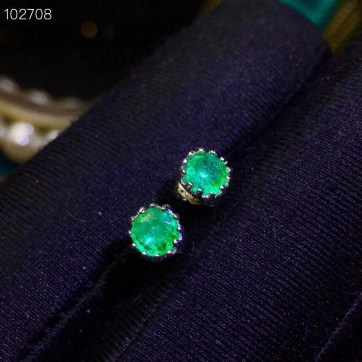 Natural Green Emerald Earrings  Sterling Silver Earrings for Women Engagement Cocktail Wedding Earrings  Handmade Art Deco Aesthetic