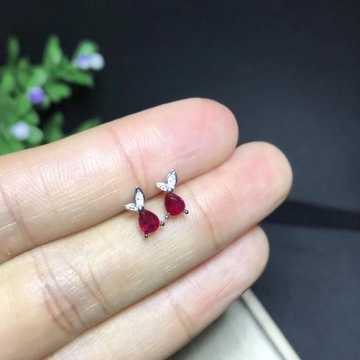 Natural Blood Red Ruby Earrings  July Birthstone Sterling Silver Earrings Women Engagement Wedding Jewelry Handmade Art Deco Aesthetic