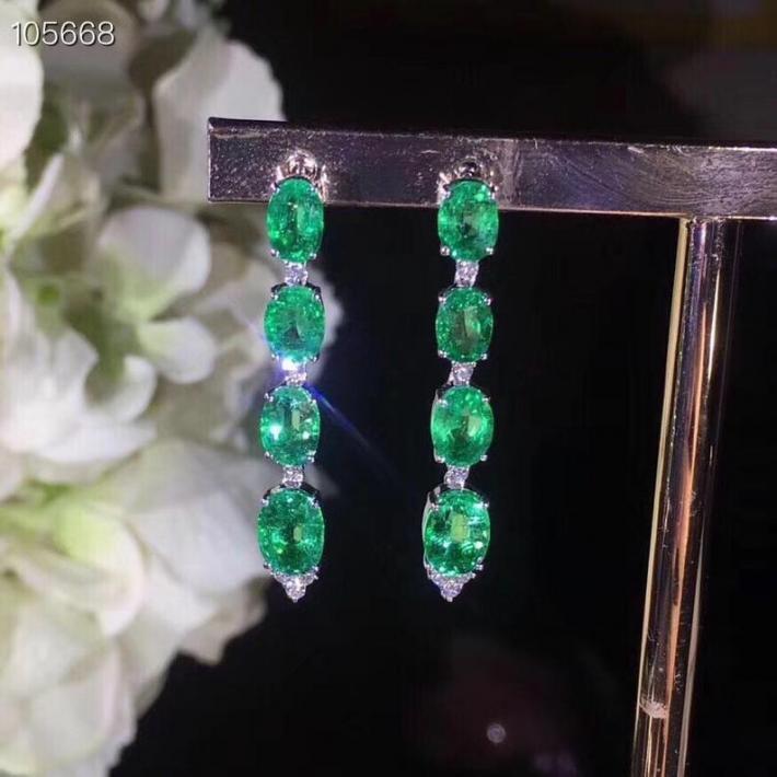 Natural Green Columbia Emerald Earrings  Sterling Silver Earrings for Women Engagement Cocktail Wedding Earrings  Handmade Art Deco