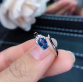 Natural Blue Sapphire Ring September Birthstone 18K White Gold Plated Sterling Silver Rings For Women Handmade Engagement Wedding Ring