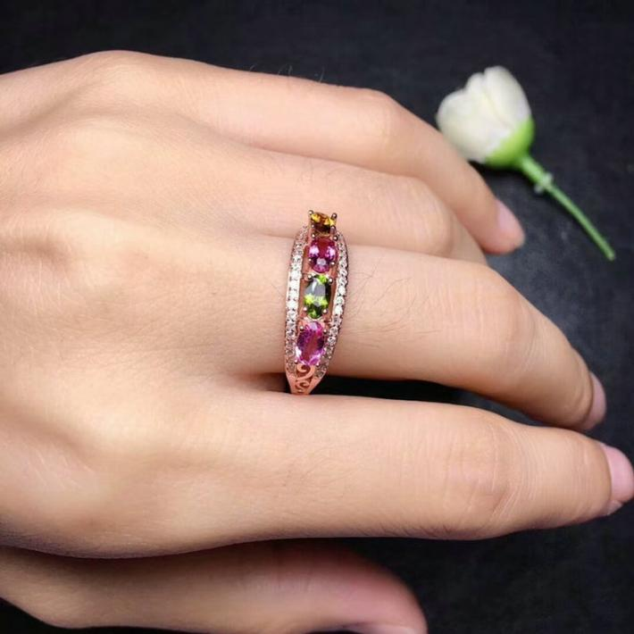 Top AAA Grade Natural Tourmaline Ring  Stackable Ring  Sterling Silver Rings for Women Engagement Cocktail Wedding Ring  Art Deco