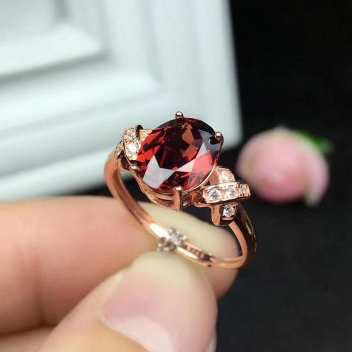 Natural Red Garnet Ring January Birthstone  Silver Ring For Women  Engagement Cocktail Wedding Ring Handmade Art Deco Aesthetic