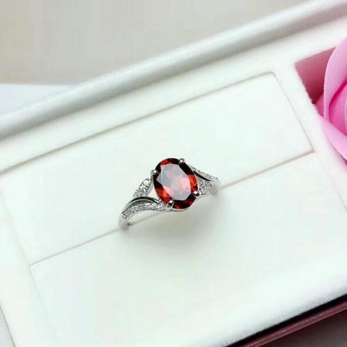 Natural Red Garnet Ring January Birthstone  Silver Ring For Women  Engagement Cocktail Wedding Ring  Art Deco Aesthetic