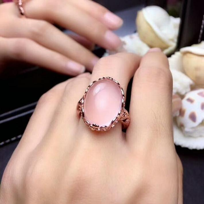 Huge Natural Rose Quartz Ring  Rose Yellow White Gold plated Sterling Silver Rings For Women  Engagement Statement Ring  Handmade