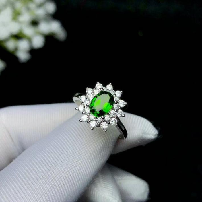 Natural Green Chrome Diopside Ring  Gold Plated Sterling Silver Rings Engagement Statement Statement Wedding Ring Handmade Art Deco