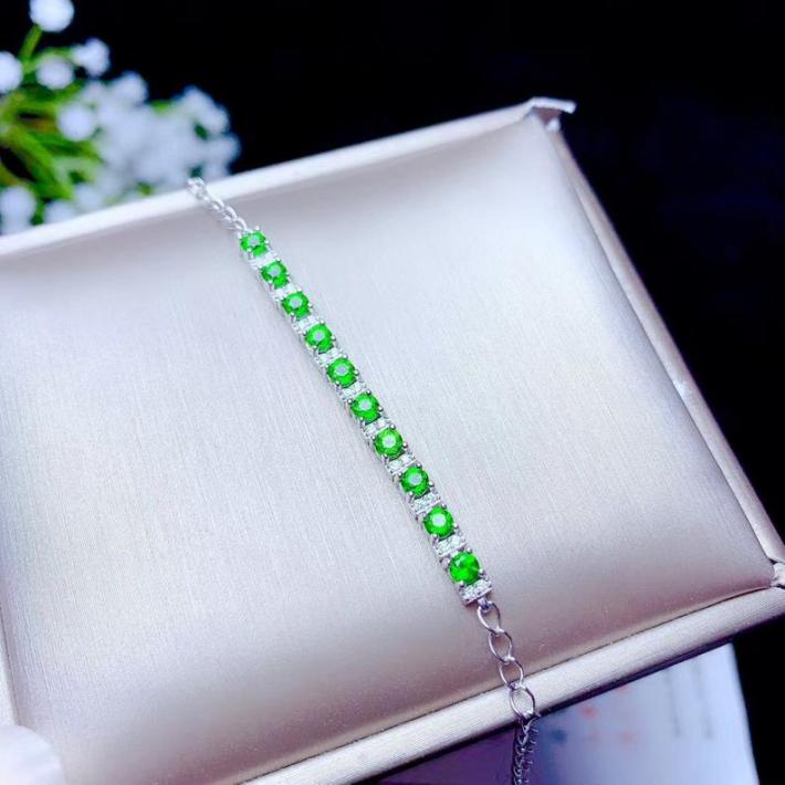 Natural Green Chrome Diopside Bracelet White Gold Plated Sterling Silver Bracelet For Women Engagement Cocktail Wedding Art Deco Aesthetic