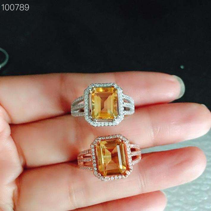 Natural Citrine Ring November Birthstone Gold Plated Sterling Silver Rings For Women Engagement Statement Wedding Ring Art Deco Aesthetic