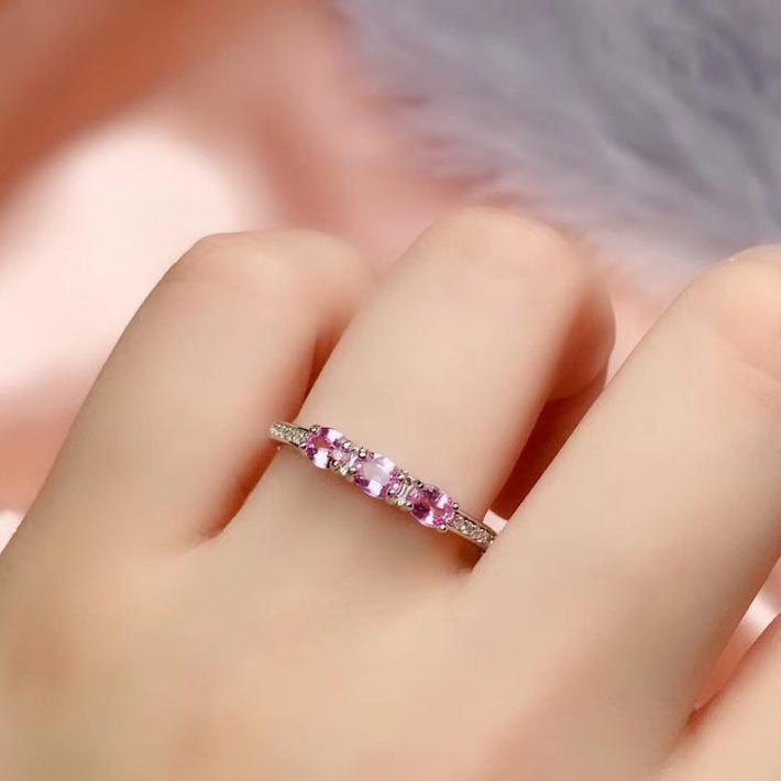 Natural Pink Sapphire Ring September Birthstone Sterling Silver Rings for Women Engagement Cocktail Wedding Ring Art Deco Aesthetic