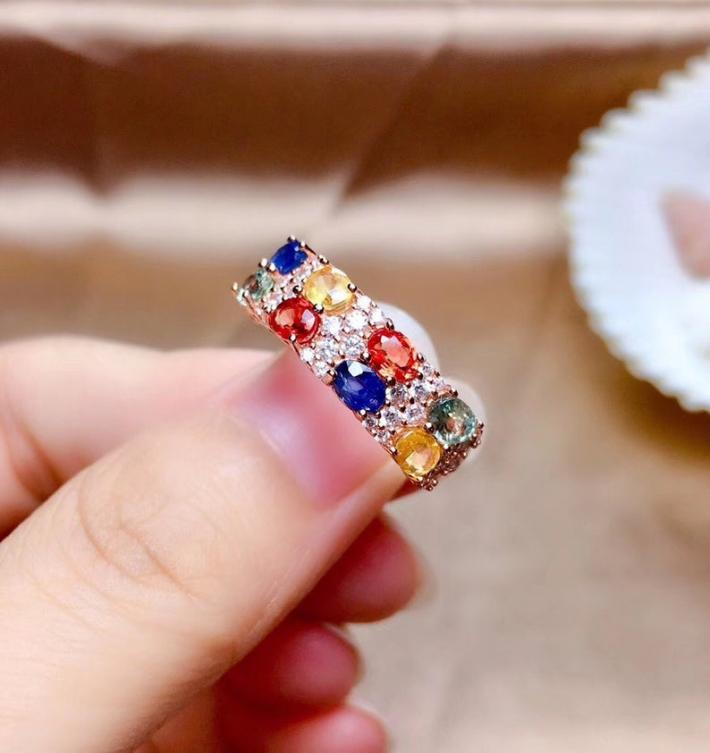 Natural Multi Color Sapphire Ring September Birthstone Sterling Silver Rings Women Engagement Cocktail Wedding Ring Art Deco Aesthetic