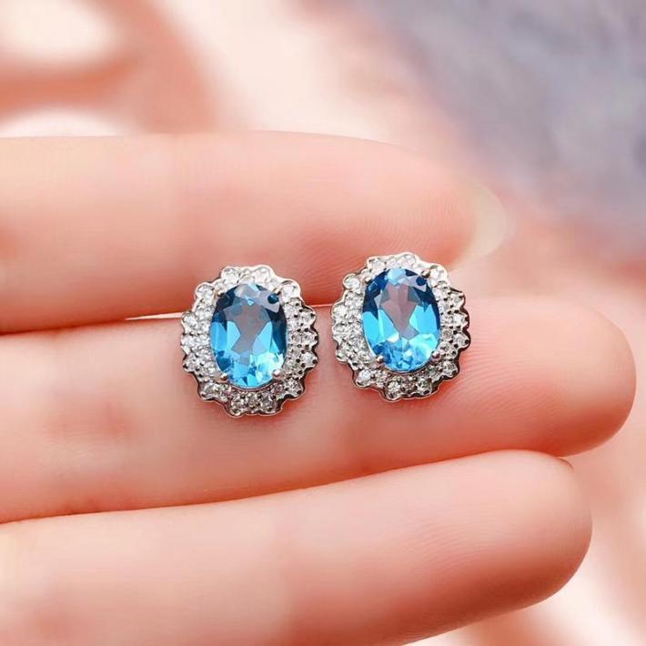 Swiss Blue Topaz Ring Pendant Earrings November Birthstone Sterling Silver Jewelry for Women Engagement Cocktail Wedding Art Deco