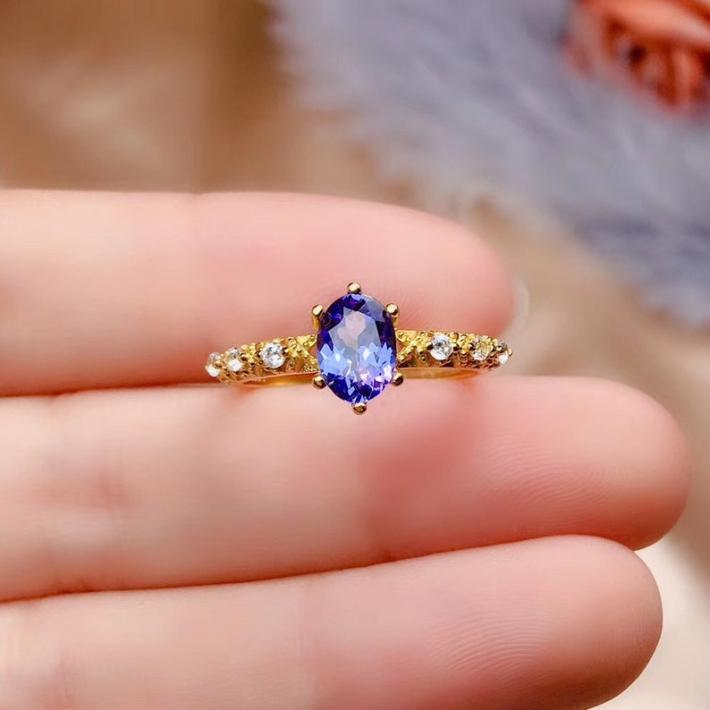 Natural Tanzanite Engagement Ring Yellow Gold Plated Sterling Silver Rings for Women Handmade Engagement Wedding Art Deco Aesthetic Gift