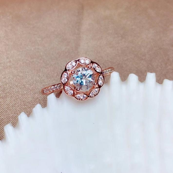 Natural Aquamarine Ring March Birthstone Rose Gold Plated Sterling Silver Rings for Women Engagement Cocktail Wedding Art Deco Aesthetic