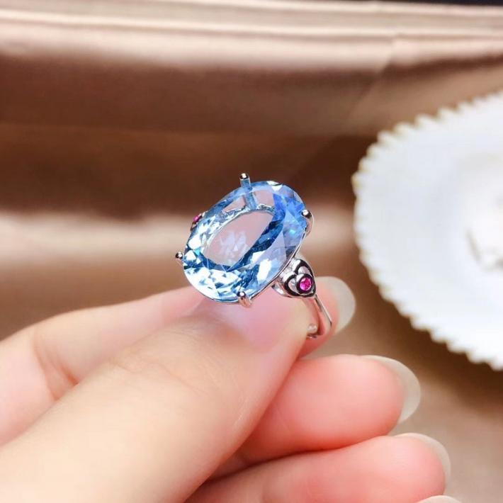 12CT Blue Topaz Ring November Birthstone Engagement Ring White Gold Plated Silver Rings For Women Handmade Engagement Statement Wedding