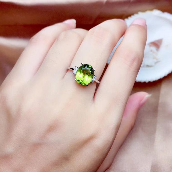 Natural Green Peridot Ring Pendant Necklace Set August Birthstone Sterling Silver Jewelry Set Handmade Engagement Statement Wedding
