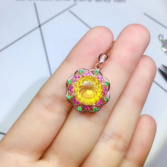 Flower Natural Citrine Pendant November Birthstone Gold Plated Sterling Silver Pendant For Women Engagement Statement Wedding Art Deco