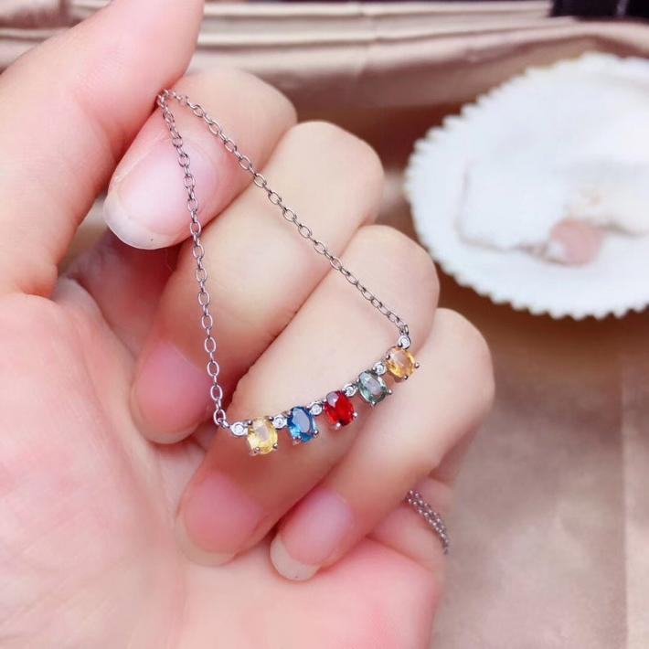 Natural Colorful Sapphire Pendant Necklace September Birthstone Sterling Silver Pendant For Women Engagement Wedding Jewelry Art Deco