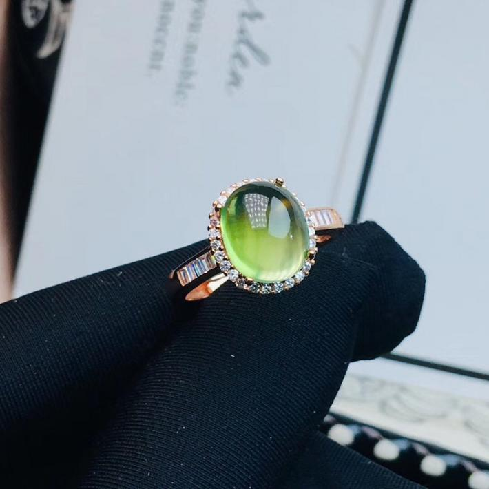 Natural Green Prehnite Ring Rose Gold plated Sterling Silver Rings For Women Engagement Statement Wedding Ring Handmade Art Deco