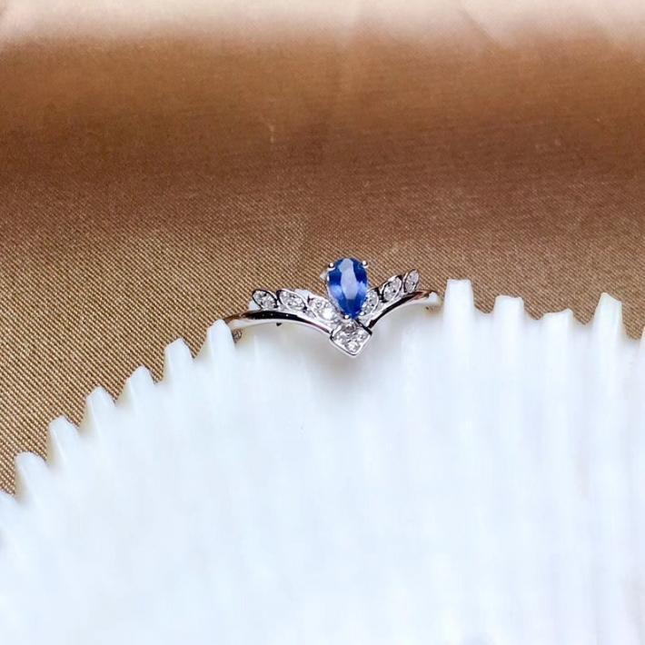 Genuine Natural Blue Sapphire Ring Silver Rings For Women September Birthstone Engagement Cocktail Wedding Handmade Art Deco Aesthetic