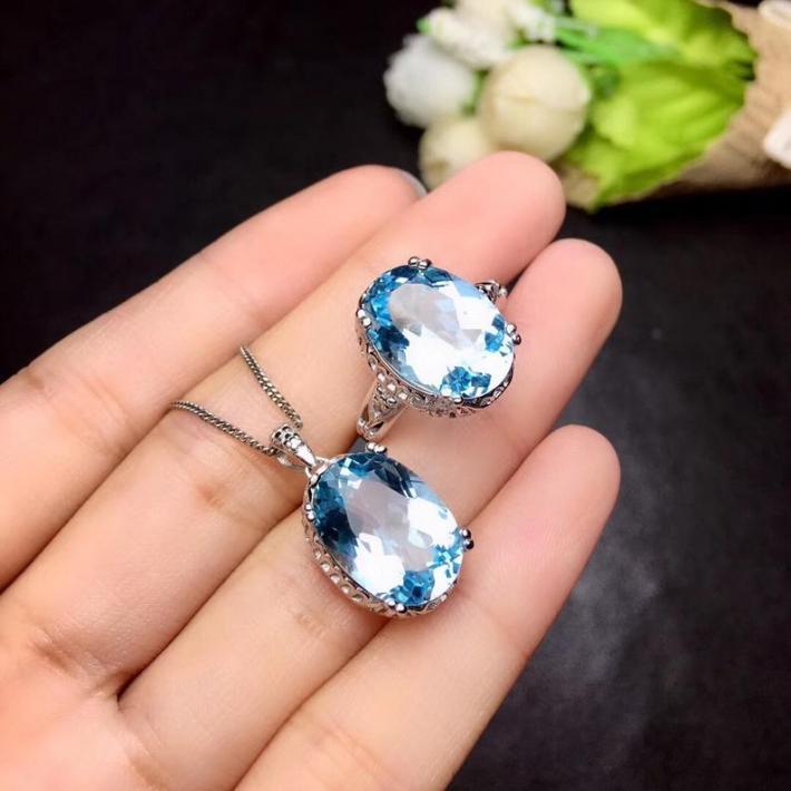 Sky Blue Topaz Ring Pendant Set November Birthstone Sterling Silver Jewelry for Women Engagement Cocktail Wedding Art Deco