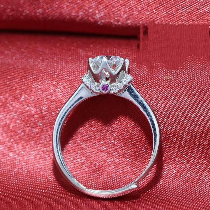 1 Carat Classic Palace Moissanite Ring  Moissanite Diamond  White Gold Plated Sterling Silver Rings for Women  Handmade Engagement Wedding